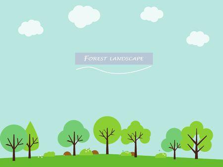 trees landscape: Forest trees landscape illustration background ecology concept