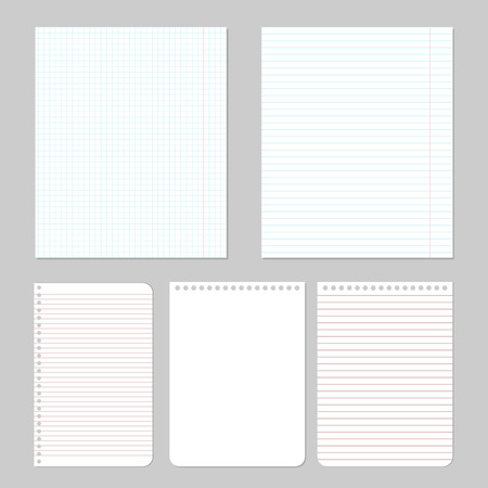 notebook paper: Set of different notebook paper, vector eps10 illustration