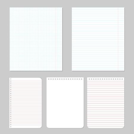 Set van verschillende notebook papier, vector eps10