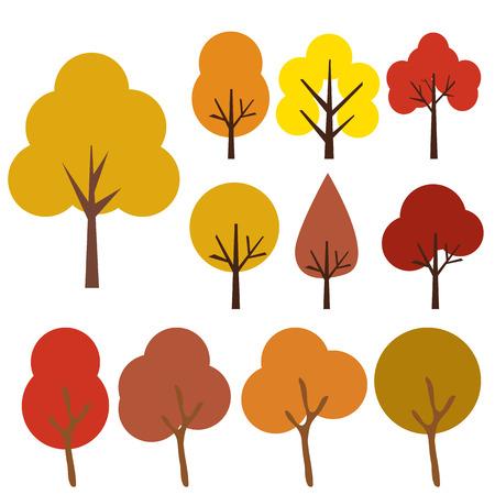 tronco: Colección de árboles, aislada en fondo blanco, ilustración vectorial