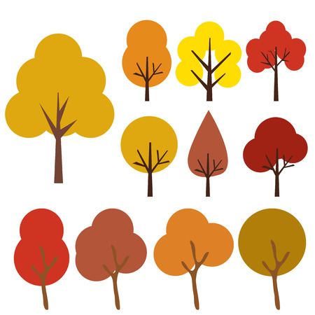 autumn garden: Collection Of Trees, Isolated On White Background, Vector Illustration