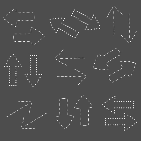sketched arrows: Dotted arrows set, sketched style, doodle. Vector illustration