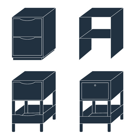 bedside: Office drawers and cabinets for documents. Furniture. Isolated on a white background. EPS10