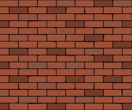 質地: 紅磚牆無縫的矢量插圖背景。磚的現實質地磨損 向量圖像