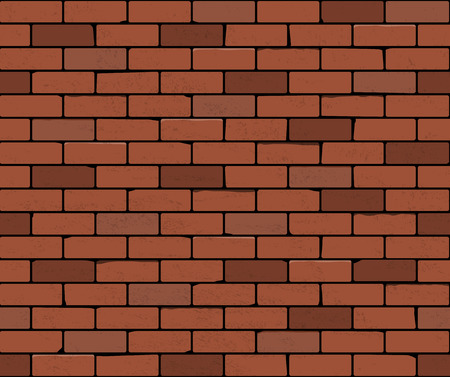 Red brick wall seamless Vector illustration background. Realistic texture of bricks with scuffed