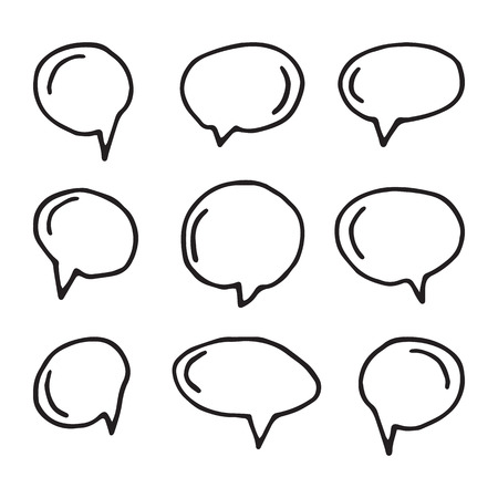 speech icon: Hand drawn thought and speech bubbles and balloons.