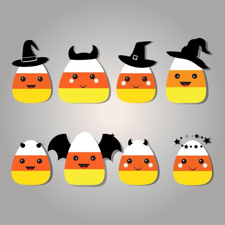 corn cartoon: Ocho ma�z dulce de dibujos animados diferente de Halloween de ma�z de caramelo en trajes de Halloween trajes gr�ficos. Pastillas de caramelo de personaje de dibujos animados. Ilustraci�n vectorial aislados. Ilustraci�n de dibujos animados de un ma�z dulce.