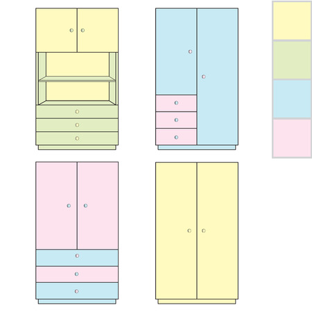 storing: Cabinet for storing clothes and toys. Different variants. Illustration