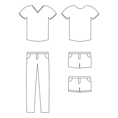 casual clothing: Vector illustration of casual clothes. t-shirt, pants and shorts.