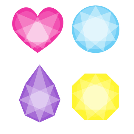 Cartoon vector gems and diamonds icons set in different colors on the white background. EPS 10 vector illustration.