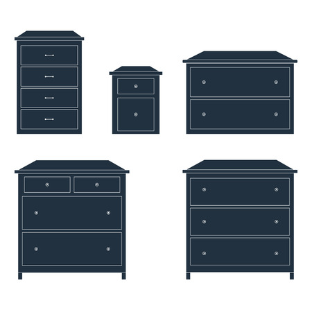 drawers: Different commodes with drawers isolated over white, vector illustration