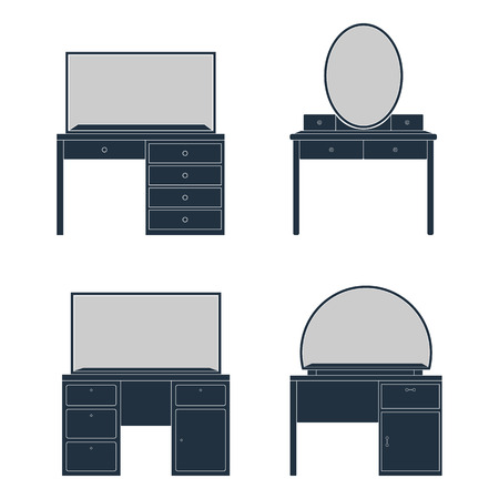 console table: A set of different dressing tables with mirror. Silhouettes on a white background. Illustration