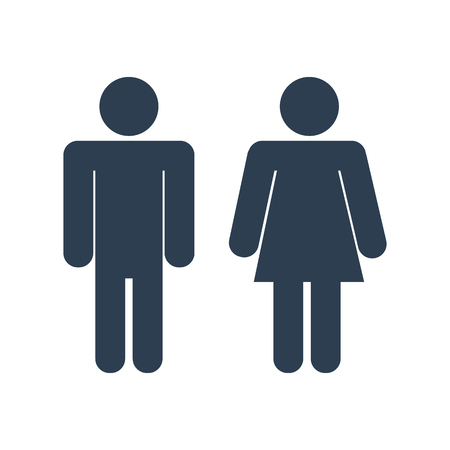 Vector icon with man and woman,toilet sign. Simple illustration with figures of peoples Çizim