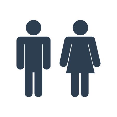 strichmännchen: Vector-Symbol mit Mann und Frau, WC Zeichen. Einfache Darstellung mit Figuren der Völker
