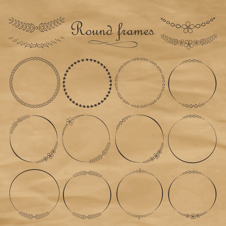 frameworks: Set of round and circular decorative patterns for design frameworks and banners. Calligraphic design elements and page decoration. On old paper texture. Vector.