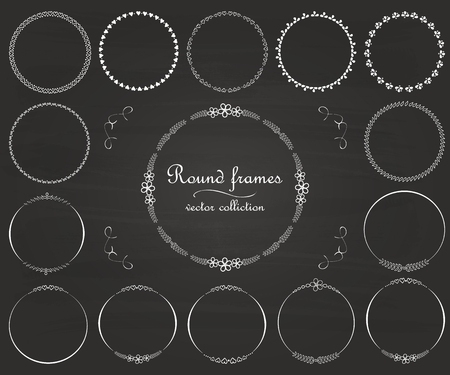 frameworks: Set of round and circular decorative patterns for design frameworks and banners. Calligraphic design elements and page decoration. Vintage swirl and curls. Vector. Illustration