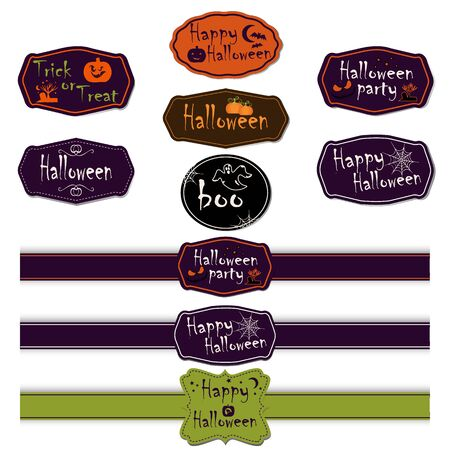 Set of Halloween different ribbons and labels. Scrapbook elements. Vector illustration. Trick or Treat Concept. Elements for your design and layout. Halloween symbols and attributes. Ilustração