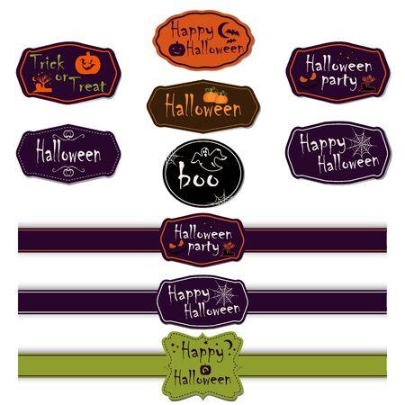 Set van Halloween verschillende linten en labels. Scrapbook elementen. Vector illustratie. Trick or Treat Concept. Elementen voor uw ontwerp en lay-out. Halloween symbolen en attributen.