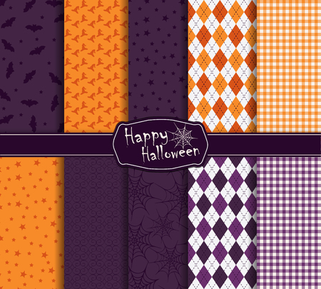 Collection of halloween holidays seamless pattern. Vector illustration. Halloween symbols and attributes. Traditional colors. Background for your design and layout.