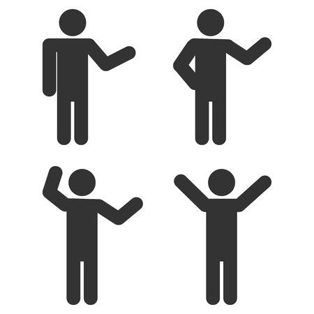 Set van actieve man pictogrammen geïllustreerd op witte achtergrond