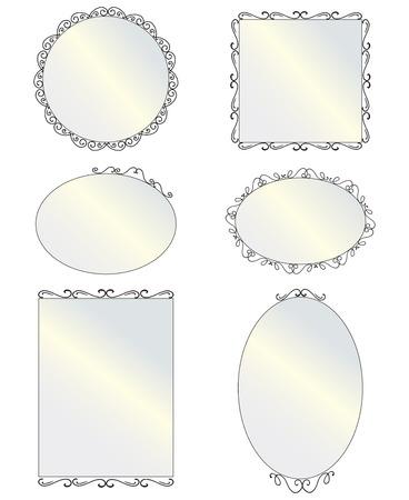 黒い丸形と角形ヴィンテージの鏡、デザイン要素のセット  イラスト・ベクター素材