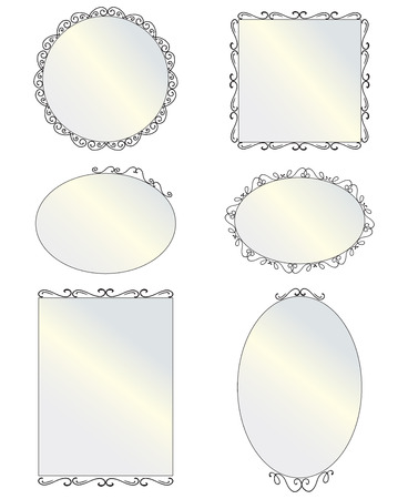 mirror frame: Set of black round and square vintage mirror, design elements