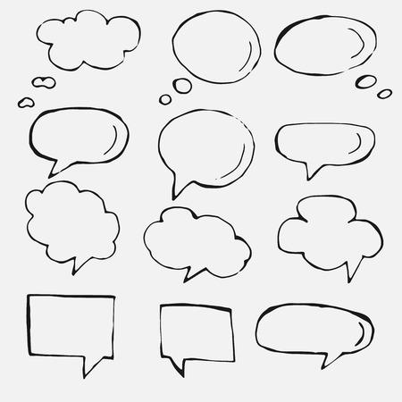 burbuja: Pensamiento dibujado a mano y globos de texto y globos. Vectores
