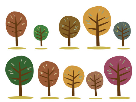 drawing trees: Set of colorful autumn tree collection