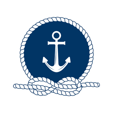 Nautical badge with anchor. Vector illustration of nautical anchor. Round frame of rope. White anchor on a dark blue background. Symbol of sailors, sail, cruise and sea. Icon and design element. Marine symbol. Vettoriali