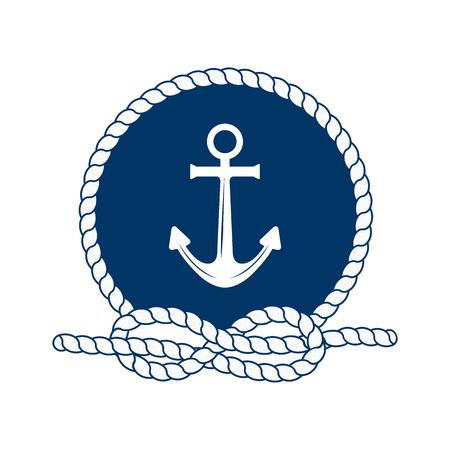 nudos: insignia náutico con ancla. Ilustración del vector del ancla náutica. Marco redondo de la cuerda. ancla blanca sobre un fondo azul oscuro. Símbolo de los marineros, vela, crucero y el mar. Icono y elementos de diseño. símbolo marino.