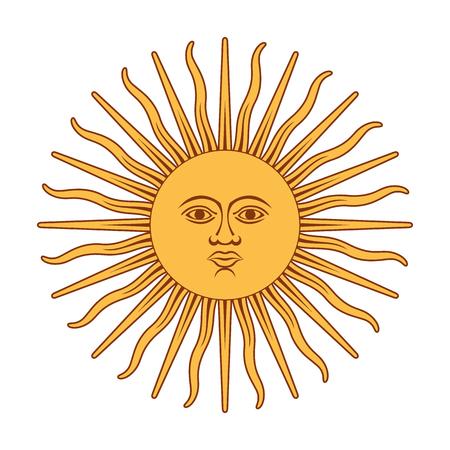 Argentinië Sun Of May. Zon van mei vector illustratie. Stock Illustratie