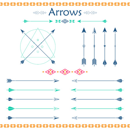 traditional weapon: Big set of different vector arrows. Hipster arrows collection. Set of Indian style arrows. Arrow for all design. Indian elements, tribal elements, template. Traditional hunting weapon. Illustration