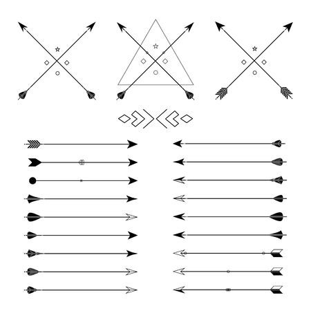 indian weapons: Big set of different vector arrows. Hipster arrows collection. Set of Indian style arrows. Arrow for all design. Indian elements, tribal elements, template. Traditional hunting weapon. Illustration