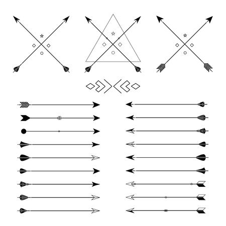 Grande insieme di diverse frecce vettoriali. Hipster raccolta frecce. Insieme delle frecce stile indiano. Freccia per tutta la progettazione. Elementi indiani, elementi tribali, modello. arma da caccia tradizionale.