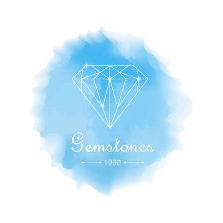 jewelry store: Lovely vector watercolor shopping icon, emblem. Watercolor logotypes set. Beautiful white diamonds shapes on blue watercolor background. Jewelry store emblem