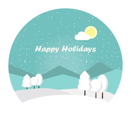 wonderful: Vector illustration winter landscape with cartoon trees covered with snow. Snowy mountain. Winter time. Wonderful winter morning of Christmas.