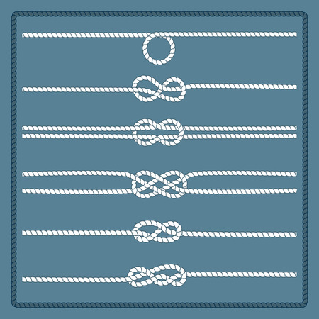 on the ropes: Rope knots collection. Decorative elements. Vector illustration. Marine rope knot. Vector Rope. Set of nautical rope knots, corners and frames. Hand drawn decorative elements in nautical style. Illustration