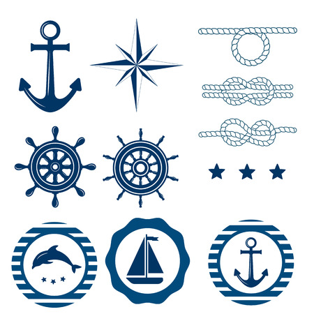 Set of nautical badges and labels. Vector Collection of various nautical elements for design and page decoration. Summer holidays, travel, vacation, adventure labels template set. Nautical decoration set. Illustration