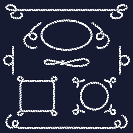 ロープの結び目のコレクションです。ロープまんじ、ロゴとバッジ。ベクトルの図。船舶用ロープの結び目。ベクトルのロープです。航海ロープの  イラスト・ベクター素材