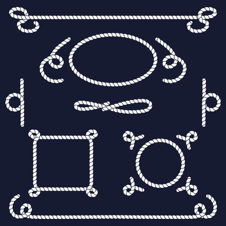 marinero: colección de nudos de la cuerda. Cuerda remolinos, logotipos e insignias. Ilustración del vector. nudo de la cuerda marina. Cuerda del vector. Conjunto de cuerda náutica nudos, esquinas y marcos. Dibujado a mano elementos decorativos de estilo náutico. Vectores