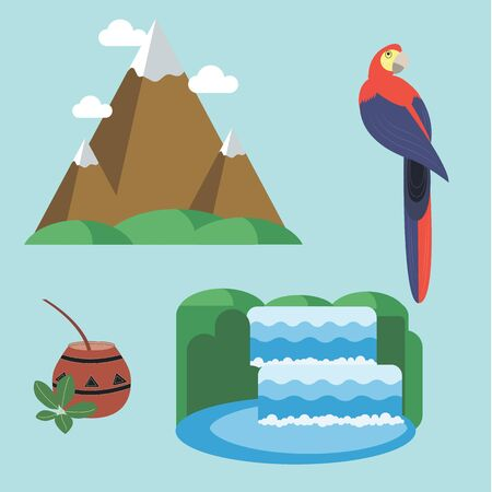 waterfall: Argentina - set of icons and illustrations. Mountains in the clouds. Waterfall and National Park. Tea, Mate. The bright tropical parrot. Attractions in Argentina.