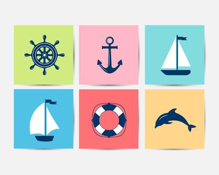 helm boat: Conjunto de símbolos marinos. Vector de la náutica y los iconos marinos. iconos planos con símbolos mar. Colección de anclaje elemento, estrellas de mar, barco, salvavidas, brújula, timón. Conjunto de mar y decoraciones marinas. deporte de ocio mar. Vectores