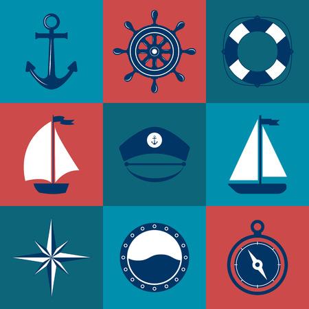 timon barco: Conjunto de s�mbolos marinos. Vector de la n�utica y los iconos marinos. iconos planos con s�mbolos mar. Colecci�n de elementos - el ancla, barco, salvavidas, br�jula, tim�n, casquillo del capit�n. Conjunto de mar y decoraciones marinas. deporte de ocio mar.