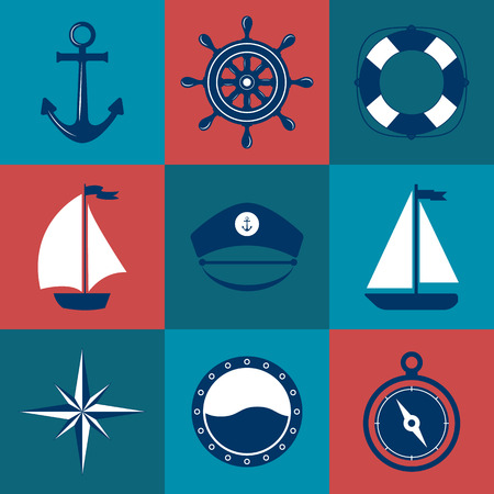 captain cap: Set of marine symbols. Vector of Nautical and marine icons. Flat icons with sea symbols. Collection of element - anchor, boat, lifebuoy, compass, helm, captain cap. Set of sea and nautical decorations. Sea leisure sport.