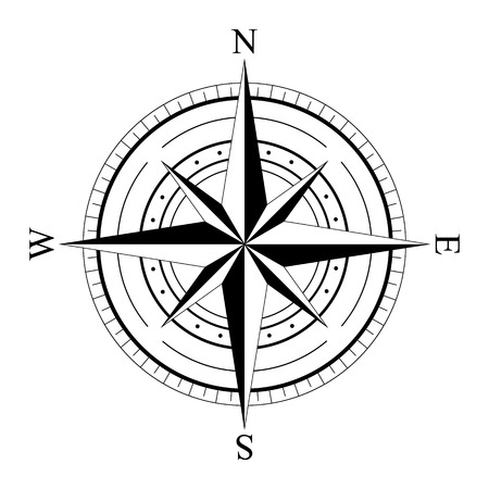 compass rose: Black wind rose compass isolated on white. Compass Icon Graphic. Nautical design elements. Compass Rose. Wind rose. Vector Illustration.