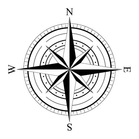 viento negro brújula aisladas en blanco se levantó. Brújula gráfica del icono. elementos de diseño náutico. Rosa de los vientos. Rosa de los vientos. Ilustración del vector.