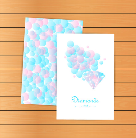 jewelry store: Lovely vector cards, emblem, design element, logotypes set. Beautiful white diamonds shapes on blue bubble background. Jewelry store emblem. Jewelry labels, ribbons, decor, ornament. Diamond logo. Fashion style.