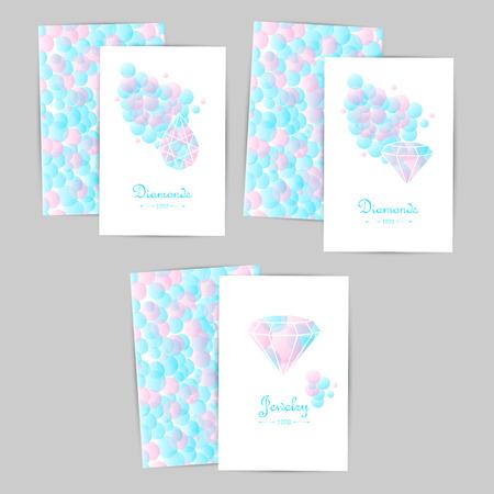 jewelry store: Lovely vector cards, emblem, design element, logotypes set. Beautiful white diamonds shapes on blue bubble background. Jewelry store emblem. Jewelry labels, ribbons, decor, ornament. Diamond logo. Fashion style.