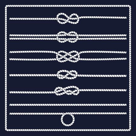 Rope knots collectie. Decoratieve elementen. Vector illustratie. Marine touw knoop. Vector Rope. Set van nautische touw knopen, hoeken en frames. Getrokken decoratieve elementen in nautische stijl. Stock Illustratie