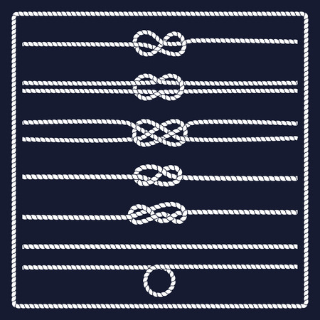 Rope knots collection. Decorative elements. Vector illustration. Marine rope knot. Vector Rope. Set of nautical rope knots, corners and frames. Hand drawn decorative elements in nautical style.